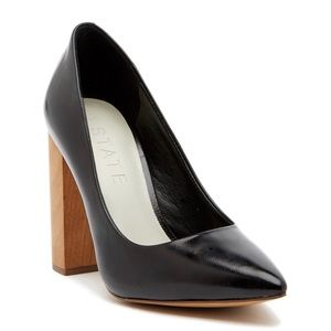 1. State Valencia Nappa  Leather Wood Block Pumps